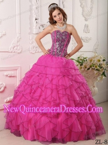 Beading Hot Pink Ball Gown Sweetheart Floor-length Organza 2013 Quinceanera Dress