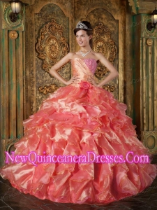 Beading and Ruffles 2014 Coral Red Strapless Floor-length Quinceanera Dress