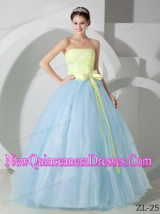 Beautiful Ball Gown Strapless Light Blue and Yellow Sash and Ruching Quinceanea Dress