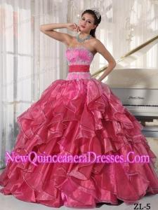 Beautiful Strapless Ball Gown Organza Appliques Quinceanera Dress