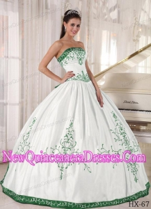 Beautiful Strapless Floor-length Embroidery Quinceanera Dress in White and Green