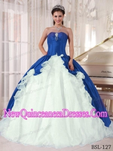 Blue and White Ball Gown Sweetheart Floor-length Beading 2013 Quinceanera Dress