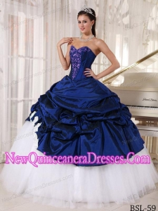 Blue and White Ball Gown Sweetheart Long Appliques Beautiful Quinceanera Dresses