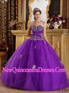 Eggplant Purple Ball Gown Sweetheart With Appliques Tulle 2014 Quinceanera Dress