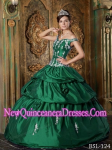 Green Ball Gown Off The Shoulder 2014 Quinceanera Dress Floor-length Taffeta Appliques