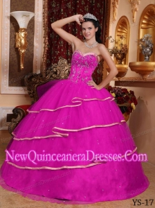 Hot Pink Ball Gown Sweetheart Satin and Tulle Beading 2014 Quinceanera Dress