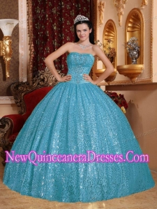 In Aqua Blue Ball Gown Sweetheart Floor-length Beading 2014 Quinceanera Dress