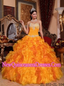 In Golden Ball Gown Sweetheart Floor-length Organza With Appliques and Beading 2014 Quinceanera Dress