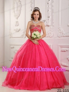 In Hot Pink A-Line / Princess Sweetheart Satin and Organza Beading 2014 Quinceanera Dress