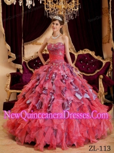 In Watermelon Ball Gown Sweetheart With Beading Leopard and Organza 2014 Quinceanera Dress