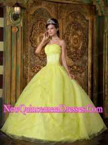 In Yellow Ball Gown Strapless Floor-length Appliques Organza 2014 Quinceanera Dress