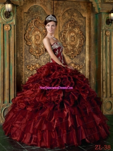 Organza Ball Gown Strapless Floor-length Ruffles 2014 Quinceanera Dress in Wine Red