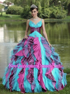Organza Straps Embroidery and Beading For 2014 Quinceanera Dress