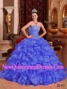 Purple Ball Gown Strapless 2014 Quinceanera DressOrganza Beading and Appliques