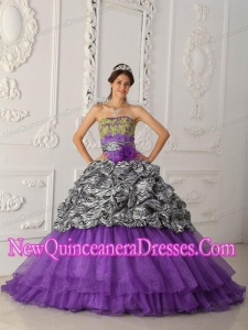 Purple Strapless Chapel Train Zebra and Organza 2014 Quinceanera Dress