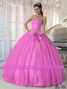 Rose Pink Sweetheart Ball Gown Tulle Beading and Bowknot 2013 Quinceanera Dress