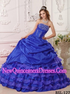 Royal Blue Ruffled Layers Ball Gown Strapless affeta 2013 Quinceanera Dress with Beading