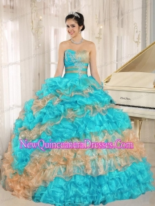 Ruffles Appliques Sweetheart Stylish Multi-color 2014 Quinceanera Dresses