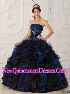 Ruffles Blue and Black Ball Gown Strapless Floor-length Taffeta and Organza Beading 2013 Quinceanera Dress