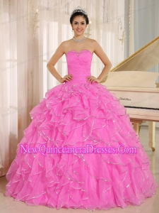Ruffles and Beaded 2014 Quinceanera Dresses in Hot Pink