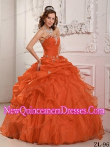 Strapless Floor-length Organza Beading And Ruffles 2013 Quinceanera Dress in Orange Red