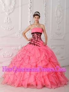 Sweet Strapless Appliques and Ruffles 2014 Quinceanera Dress in Coral Red