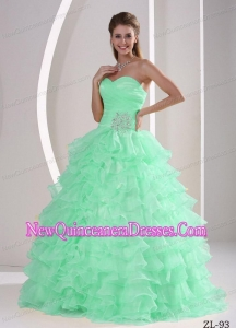 Sweetheart Appliques and Ruch Beautiful Quinceaners Dresses For Military Ball with Ruffles