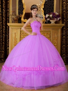 Sweetheart Floor-length Rose Pink Ball Gown Tulle 2014 Quinceanera Dress with Appliques