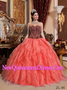 Sweetheart Organza 2013 Quinceanera Dress with Embroidery and Beading