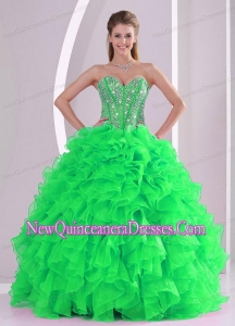 Sweetheart Ruffles and Beading Floor-length 2014 Quinceanera Gowns in Sweet 16