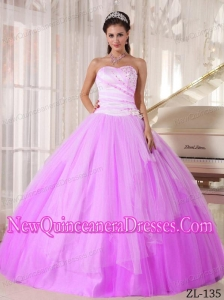 White and Pink Sweetheart Floor-length Tulle Beading Beautiful Quinceanera Dresses