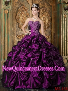 With Eggplant Purple Ball Gown Sweetheart Picks-up Taffeta 2014 Quinceanera Dress