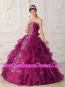 2014 Fuchsia Ball Gown Strapless Satin and Organza Embroidery Quinceanera Dress