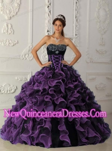 Ball Gown Sweetheart Floor-length Organza Beading 2014 Quinceanera Dress in Lavender