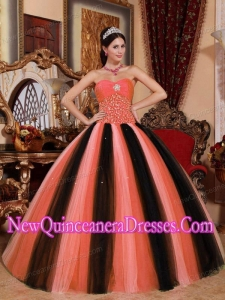 Multi-colored Ball Gown Sweetheart With Tulle Beading 2014 Quinceanera Dress