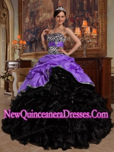 Purple and Black Ball Gown Sweetheart Pick-ups Taffeta and Organza 2014 Quinceanera Dress
