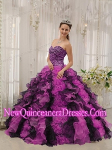 Sweetheart Floor-length Organza Beading Multi-color 2014 Quinceanera Dress