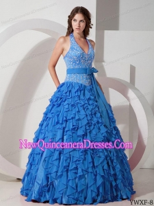 Ball Gown Halter Blue Chiffon Cheap Quinceanera Gowns with Embroidery
