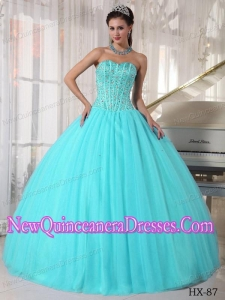Beautiful Ball Gown Sweetheart Tulle Beading Quinceanera Dresses in Aqua Blue