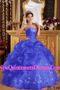 Beautiful Royal Blue Ball Gown Strapless Organza Quinceanera Dress with Embroidery