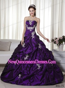 Cheap A-line Strapless Floor-length With Appliques Quinceanera Dress