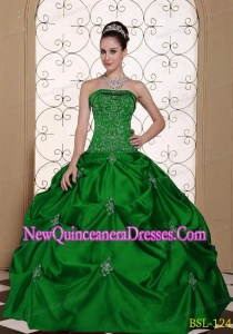 Cheap Embroidery Taffeta Strapless Modest Quinceanera Dress with Pick-ups