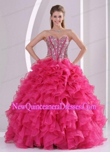 Cheap Hot Pink Sweetheart With Ruffles and Beading Organza Quinceanera Gowns