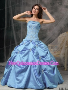 Cheap Modest Aqua Blue Strapless Floor-length Taffeta Beading Quinceanera Gowns