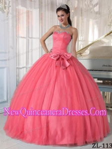 Cheap Watermelon Ball Sweetheart With Beading and Bowknot Quinceanera Gowns