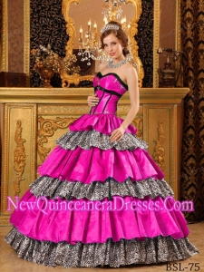 Popular Ball Gown Sweetheart Taffeta Ruffles Hot Pink Classical Quinceanera Dress