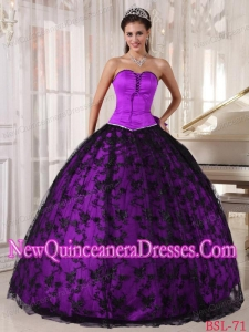 Purple and Black Beautiful Ball Gown Sweetheart Lace Floor-length Quinceanera Dress