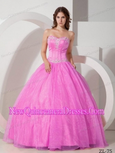 Satin and Organza Sweetheart Floor-length Appliques with Beading Classical Quinceanera Dress