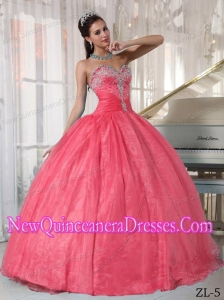 Watermelon Ball Gown Sweetheart With Appliques Cheap Quinceanera Gowns