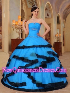 2014 Aqua Blue and Black Strapless Quinceanera Dress With Appliques